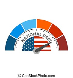 Cholesterol meter read high level of national debt result. Color scale with arrow from blue to red. The measuring device icon. Colorful infographic gauge element. National flag of USA
