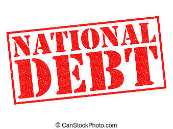 NATIONAL DEBT red Rubber Stamp over a white background.