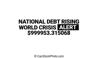 National debt rising in Dollar currency counter animation -...