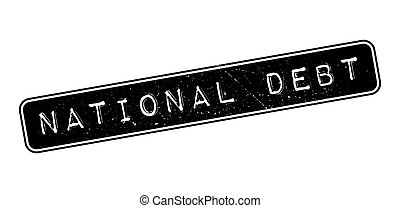 National Debt rubber stamp on white. Print, impress, overprint.