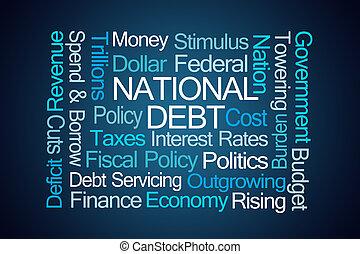 National Debt Word Cloud on Blue Background