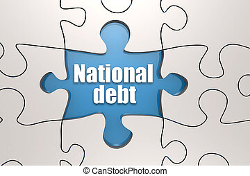 National debt word on jigsaw puzzle, 3D rendering