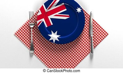 National dishes of Australia. Delicacies. Flag on a plate ...