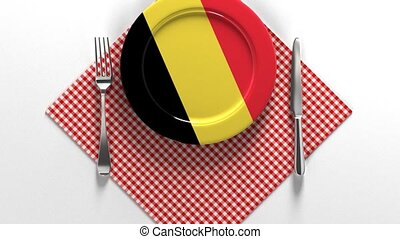 National dishes of Belgium. Delicious recipes from Europe. Flag on a plate with food from Belgium.