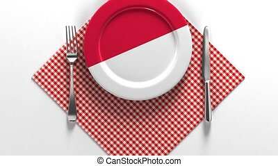 National dishes of Indonesian. Delicious recipes from Asia. Flag on a plate with food from Indonesian.