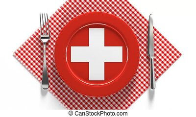 National dishes of Switzerland. Delicious recipes from Europe. Flag on a plate with food from Switzerland.