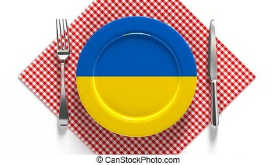 National dishes of Ukraine. Delicious recipes from Europe. Flag on a plate with food from Ukraine.