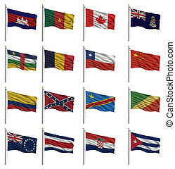 national, drapeaux, à, les, lettre c