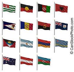 national, drapeaux, a