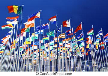 national, drapeaux