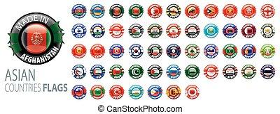 national, drapeaux, countries., asiatique