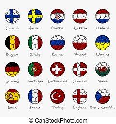 national, drapeaux, européen