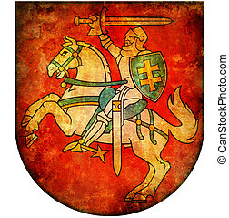 national emblem of lithuania - old isolated over white coat ...