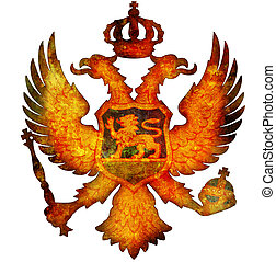 national emblem of montenegro - old isolated over white coat...