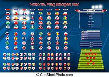 national, ensemble, drapeau, insignes