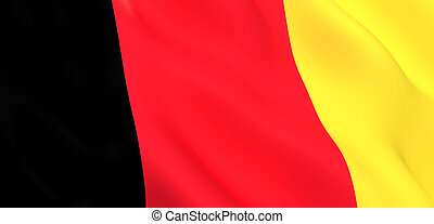 National Fabric Wave Close Up Flag of Belgium