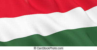 National Fabric Wave Close Up Flag of Hungary