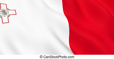 National Fabric Wave Close Up Flag of Malta
