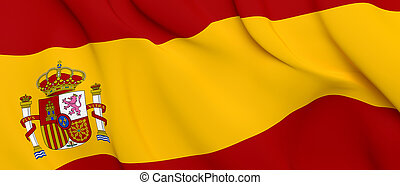 National Fabric Wave Close Up Flag of Spain