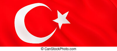 National Fabric Wave Close Up Flag of Turkey
