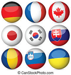 national flag ball set - National flag orb set on a white...