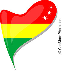 An Bolivian flag shaped like a heart. Bolivia national flag isolated on a white background with shadow