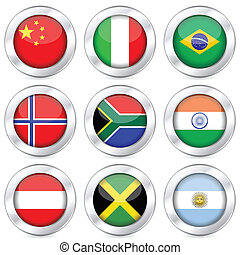 national flag button set 2