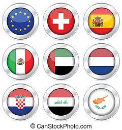 national flag button set 5
