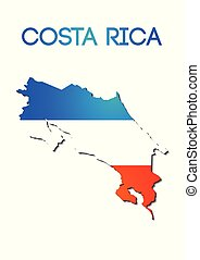 national flag color in map of Costa Rica gradient design