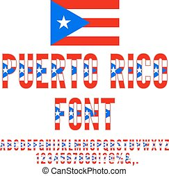 Puerto Rico National flag flat stylized Font. Alphabet and Numbers in Vector Set