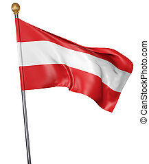 National flag for country of Austria isolated on white background