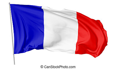 National flag France with flagpole