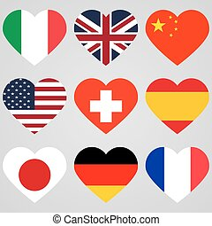 National flag hearts