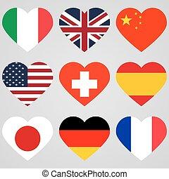 National flag hearts
