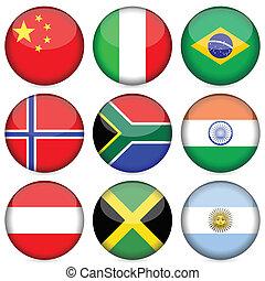 Circle national flag icon set. Vector illustration.