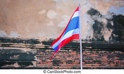 National flag in the old Buddhist temple. Thailand, Ayutaya