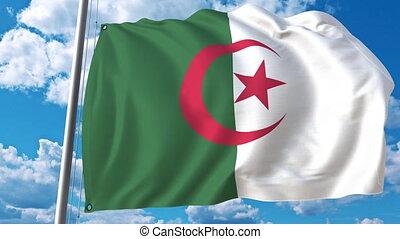 National flag of Algeria on sky background. 3D animation