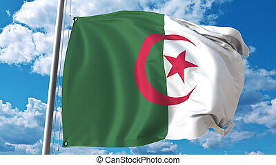 National flag of Algeria on sky background. 3D rendering