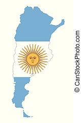 National flag of Argentina in country silhouette