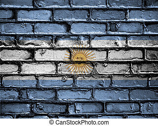 National Flag of Argentina on a Brick Wall