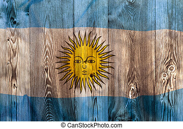 National flag of Argentina, wooden background