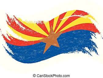 National Flag Of Arizona, Designed Using Brush Strokes Isolated On A White Background. Vector Illustration. Use For Brochures, Printed Materials, Logos, Independence Day.