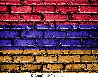 National Flag of Armenia on a Brick Wall