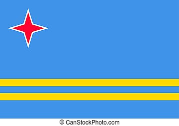 National flag of Aruba island in Caribbean sea. Patriotic...