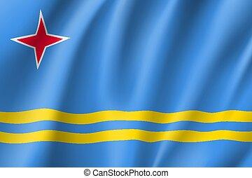 National flag of Aruba island in Caribbean sea - Waving...