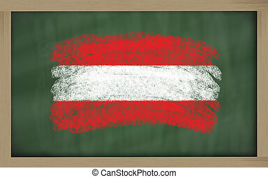 national flag of austria on blackboard painted with chalk