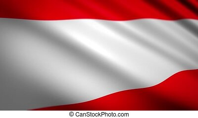 Bright color national flag of Austria country with white stripe between red waved by soft wind extreme close view slow motion