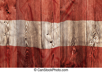 National flag of Austria, wooden background