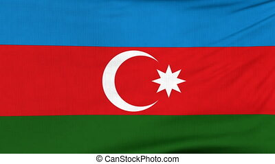 National flag of Azerbaijan flying on the wind