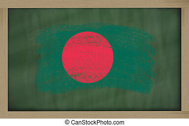 national flag of bangladesh on blackboard painted with chalk